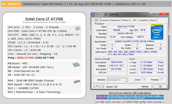 Nuevo record de overclock con un Intel Core i7-4770K Retail y una placa Base MSI Z87 Power, Imagen 2