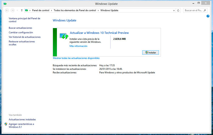 Es posible actualizar a Windows 10 desde Win 7 y 8 mediante Windows Update, Imagen 1