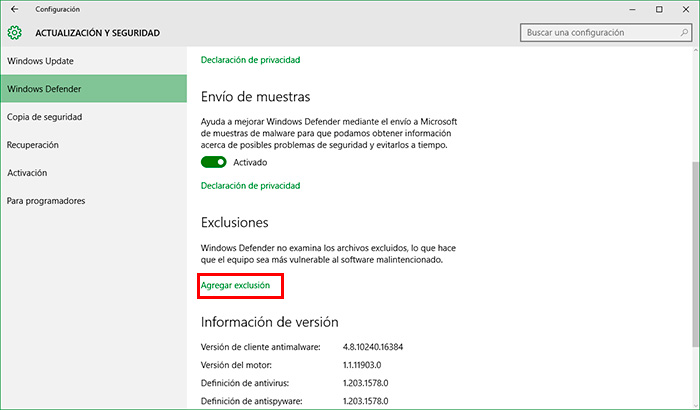 how to add a windows defender exclusion